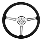 ( 1803106 ) Steering Wheel, Black 3 Metal Spoke Design with Leather Trim, 1976-95 Jeep CJ7 & Jeep Wrangler YJ