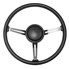 ( 1803107 ) Steering Wheel Kit with Horn Button Cap, Black 3 Metal Spoke Design, 1976-95 Jeep CJ7 & Jeep Wrangler YJ