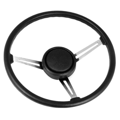 ( 1803108 ) Steering Wheel Kit with Horn Button Cap, Black 3 Metal Spoke Design with Leather Trim, 1976-95 Jeep CJ7 & Jeep Wrangler YJ