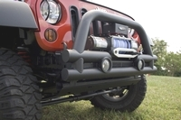 ( 1156112 ) 3-Inch Stubby Tube Front Winch Bumper, 07-17 Jeep Wrangler by Rugged Ridge