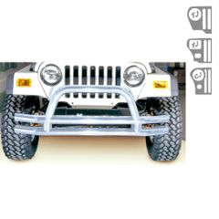 ( 1156301 ) 3-Inch Double Tube Front Bumper, Stainless Steel, 76-06 Jeep Models by Rugged Ridge