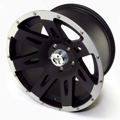 XHD Aluminum Wheel, Black with Machined Lip, 17 inch X 9 inches by Rugged Ridge