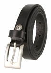 "1794/19 Women's Skinny 3/4""  Genuine Leather Dress Belt Made in Italy (Black)"