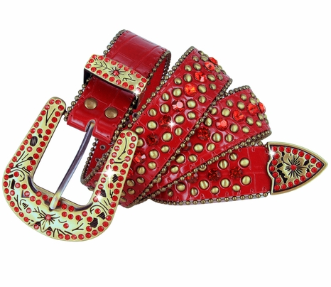 "35116 Rhinestone Belt Fashion Western Bling Studded Design Leather Belt 1-3/8""(35mm) wide-Red"