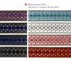 "35116 Rhinestone Belt Fashion Western Bling Studded Design Leather Belt 1-3/8""(35mm) wide-Royal-Blue-Black"