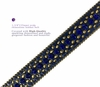 "35116 Rhinestone Belt Fashion Western Bling Studded Design Leather Belt 1-3/8""(35mm) wide-Royal-Blue-Brass"