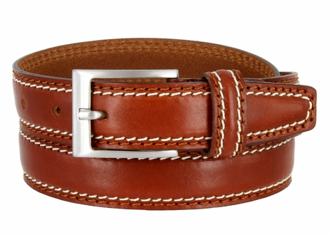 "8118/30 Men's Italian Leather Dress Casual Belt 1-1/8"" Wide Made in Italy - Marrone (Tan)"