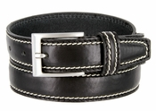 "8118/30 Men's Italian Leather Dress Casual Belt 1-1/8"" Wide Made in Italy - Nero (Black)"