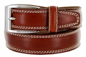 "8119/35 Men's Italian Leather Dress Casual Belt 1-3/8"" Wide Made in Italy - Marrone (Tan)"