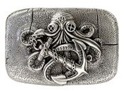 HA2331 Antique Silver Octopus Boat Anchor Engraved Belt Buckle