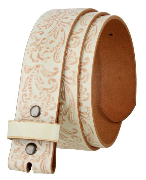 """BS036 Western Floral Engraved Tooling Full Grain Leather Belt Strap 1-1/2"""" - White"""