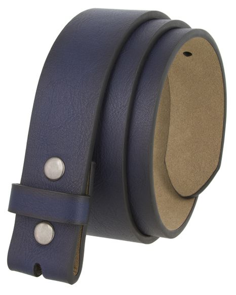 """BS380211 Casual Leather Belt Strap with Metal Snaps 1-1/2"""" wide - Navy"""