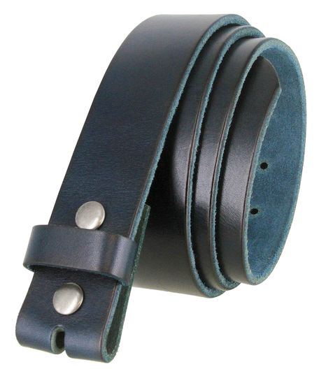 "BS040 Vintage Full Grain Cowhide Leather Casual Jeans Belt Strap 1-1/2"" Wide - Blue/Navy"