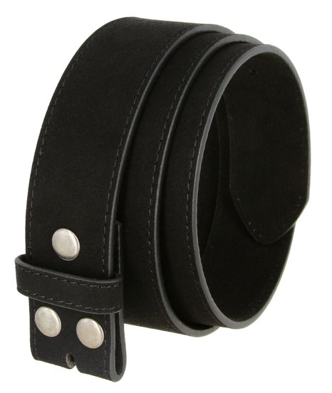 "BS066 Black Suede Leather Belt Strap 1 1/2"" Wide"