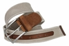 C058 Men's Italian Fabric with Leather Accents belt Made In Italy Grezzo (Beige)