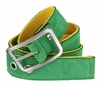 C075/40 Suede With Canvas Backing Center Buckle Belt Made In Italy - (Green/Yellow)