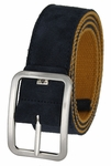 C075/40 Suede With Canvas Backing Center Buckle Belt Made In Italy - (Navy/Old Gold)