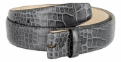 "Genuine Italian Calf Skin Crocodile Embossed Strap 1 3/8"" - Grey"