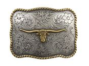 Longhorn Steer Head Gold and Silver Finish Western Belt Buckle H8143 ASAG
