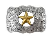 Texas Ranger Star Gold and Sterling Silver Finish Engraved Western Belt Buckle H8459