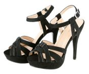 Laura Dressy Platform Comfortable Suede Open Toe Fashion Strapy High Heels - Black
