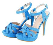 Laura Dressy Platform Comfortable Suede Open Toe Fashion Strapy High Heels - Blue