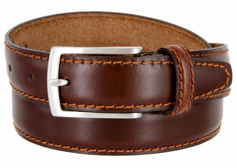 "Men's Leather Dress Casual Belt 1-1/8"" Wide Made in Italy - Bruciato (Med. Brown)"