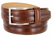 "S067/35 Men's Italian Leather Dress Casual Belt 1-3/8"" Wide Made in Italy - Bruciato (Med. Brown)"