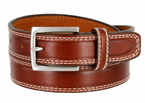 "S074/30 Men's Italian Leather Dress Casual Belt 1-1/8"" Wide Made in Italy - Marrone (Brown)"