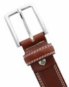 """S074/30 Men's Italian Leather Dress Casual Belt 1-1/8"""" Wide Made in Italy - Marrone (Brown)"""