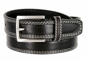 "S074/30 Men's Italian Leather Dress Casual Belt 1-1/8"" Wide Made in Italy - Nero (Black)"