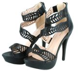 Sophia Beaded Cutout Leaf Waves Open Toe Sexy Platform Ankle Strap High Heels - Black