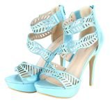 Sophia Beaded Cutout Leaf Waves Open Toe Sexy Platform Ankle Strap High Heels - Blue