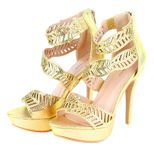 Sophia Beaded Cutout Leaf Waves Open Toe Sexy Platform Ankle Strap High Heels - Gold