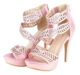 Sophia Beaded Cutout Leaf Waves Open Toe Sexy Platform Ankle Strap High Heels - Pink