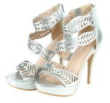 Sophia Beaded Cutout Leaf Waves Open Toe Sexy Platform Ankle Strap High Heels - Silver