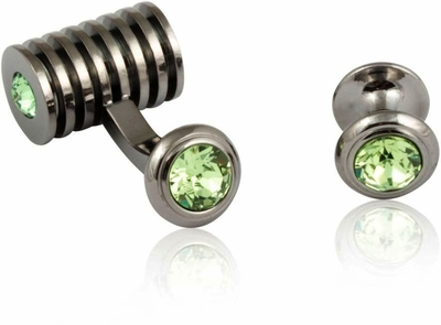 Gunmetal Peridot Swarovski Barrel Formal Set