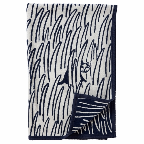 2 Cats Organic Chenille Cotton Blanket - Navy Blue
