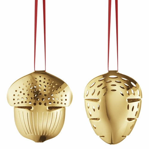 2018 Acorn & Pinecone Holiday Ornament Set, Gold Plated