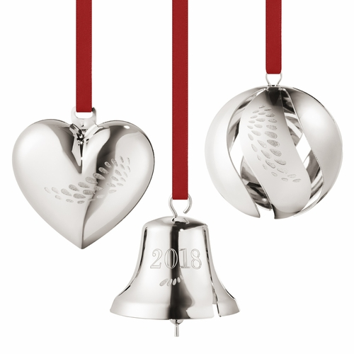 2018 Gift Set - Heart, Ball, Bell, Palladium Plated (1 Left In Store)