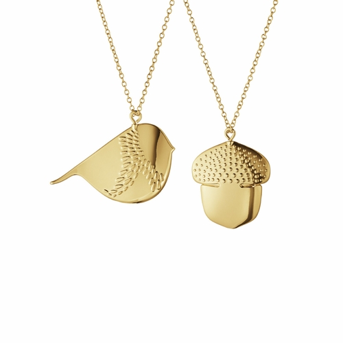 2018 Winter Bird & Acorn Ornament Set, Gold Plated