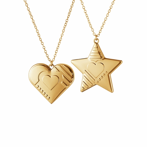 2019 Christmas Ornaments Heart & Star, Gold Plated