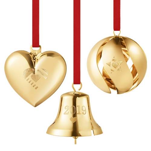 Georg Jensen 2019 Gift Set - Heart, Bell, Ball, Gold Plated