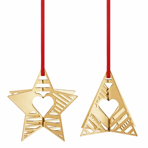 2019 Holiday Ornaments Star & Tree, Gold Plated
