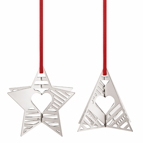 2019 Holiday Ornaments Star & Tree, Palladium Plated