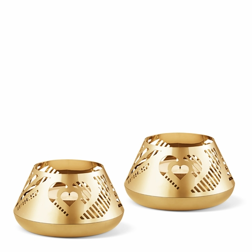 2019 Tealight Heart, Set Of 2, Gold Plated