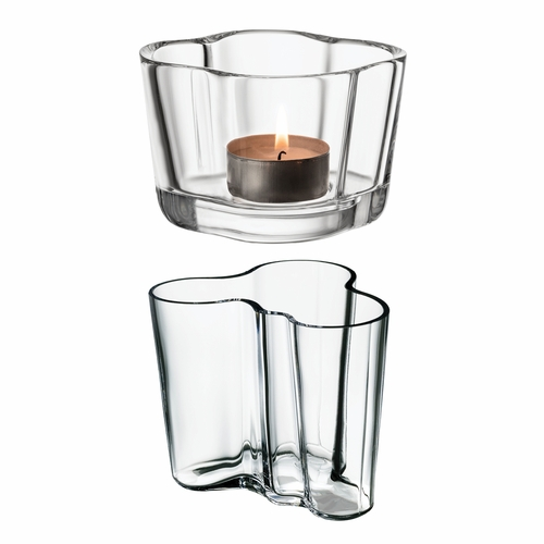 "Aalto Duo Set, Clear (3.75"" Vase & Tealight Candleholder)"