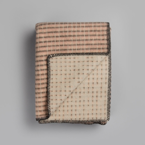 "Roros Tweed Agnes Wool Blanket, Pink/Grey/Beige - 53"" x 79"""
