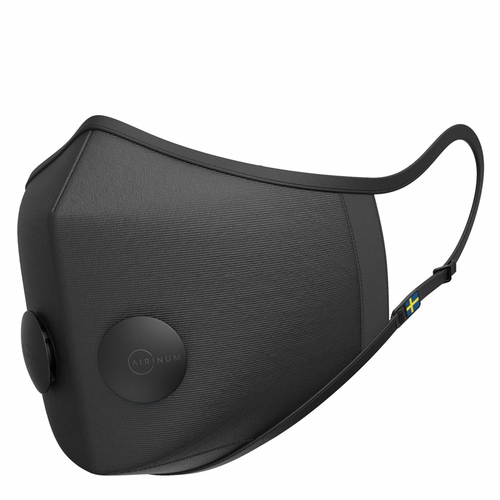 Airinum Urban Air Mask 2.0, Onyx Black with 2X Filters, Travel Pouch & 3X Filter Replacement Set