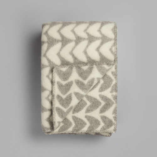 "Roros Tweed Aker Wool Blanket, Light Grey/Natural - 53"" x 79"""